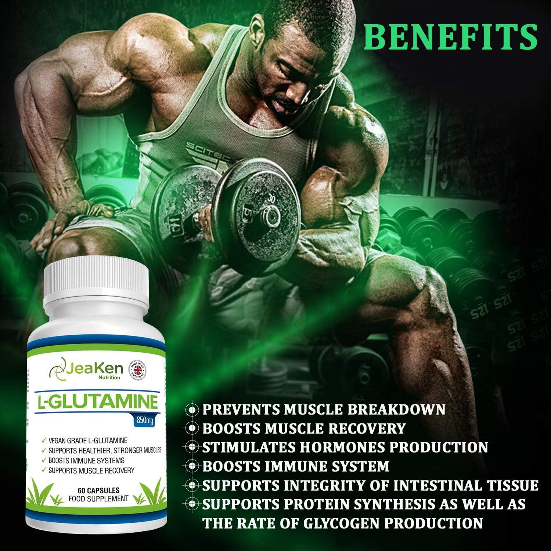 L GLUTAMINA CAPSULAS SIN GLUTEN - Suplementos para Ganar Masa Muscular y Recuperador Muscular - Glutamina Polvo Aminoacidos Esenciales para la ...