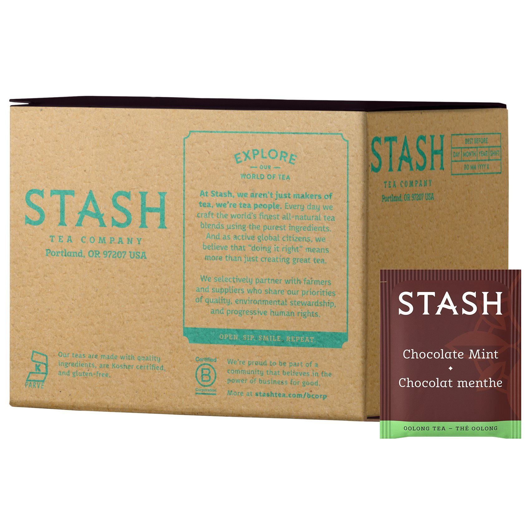 Stash Tea Chocolate Mint Wuyi Oolong Tea 100 Count Tea Bags in Foil (packaging may vary) Individual Black Tea Bags for Use in Teapots Mugs or Cups, Brew Hot Tea or Iced Tea, Fair Trade Certified