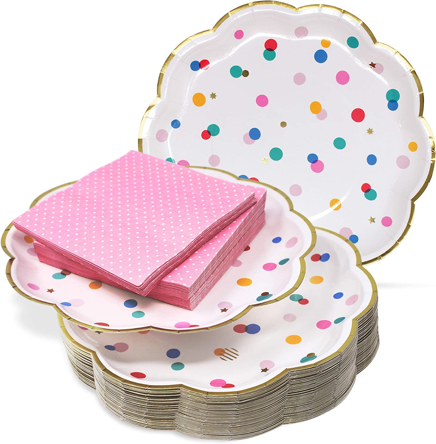 """9"""" Paper Party Plates and Cocktail Napkins Set – Ultra-Thick 400GSM Disposable Plates Won't Become Soggy – Pink and Gold Party Supplies for Birthday Baby Shower Dinnerware. 30 Value Pack"""
