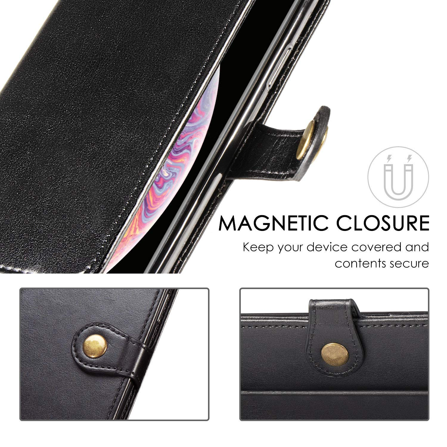 AILRINNI Case for Huawei Mate 30 lite, Premium Leather Flip Wallet Phone Cover Case with Magnetic Closure/Kickstand/Card Slot for Huawei Mate 30 lite-Black