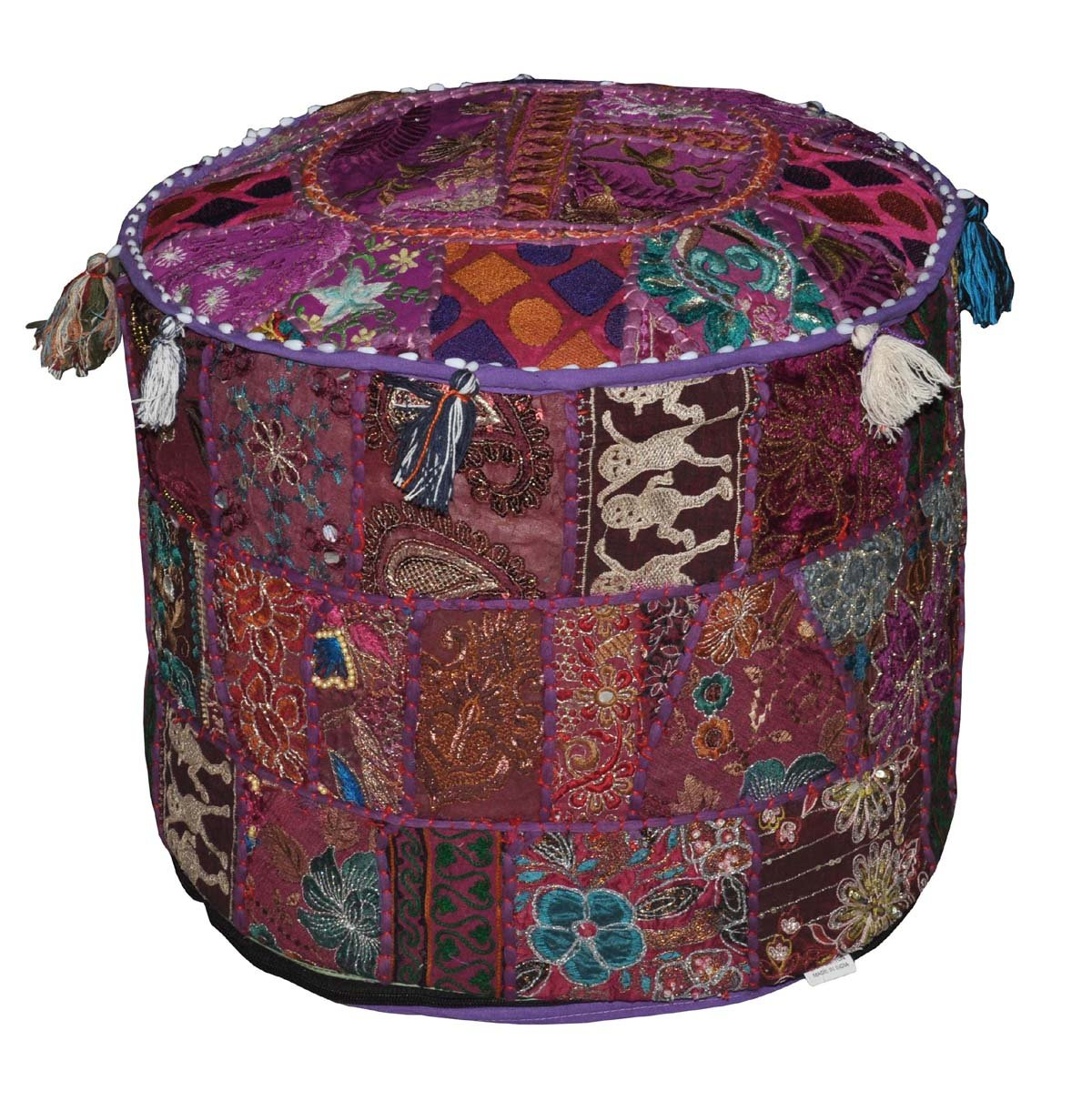 Indian Pouf Patch Embroidered Ottoman Work Round OiZukPX