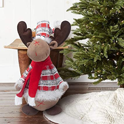 gmoegeft handmade christmas reindeer plush rudolph rustic plaid moose stuffed animal gift home ornaments holiday decoration - Christmas Moose Home Decor