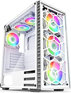 MUSETEX - ATX Mid-Tower PC Gaming Case - 6 PCS 120mm Fans Digital RGB Lighting - 2 Tempered Glass Panels USB 3.0 - White Frame - Computer Chassis Desktop Case(903N6W)