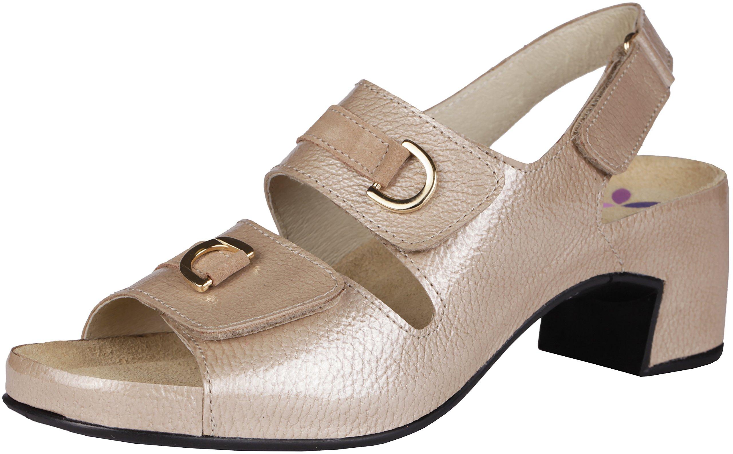Helle Fashion Comfort Women's danai Beige 2 Velcro Slingback Sandal Size 38