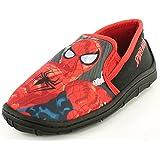 New Boys Spiderman Character Black Slippers Christmas Present Or Gift - Black - UK SIZES 1-13