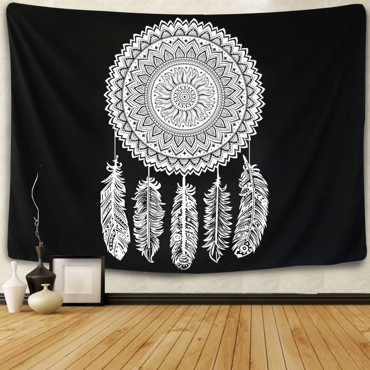 Tapestry Wall Hanging Dreamcatcher Black and White Tapestry Flower Mandala Feather Tapestry Indian Bohemian Hippie Wall Art for Living Room Bedroom Dorm Decor