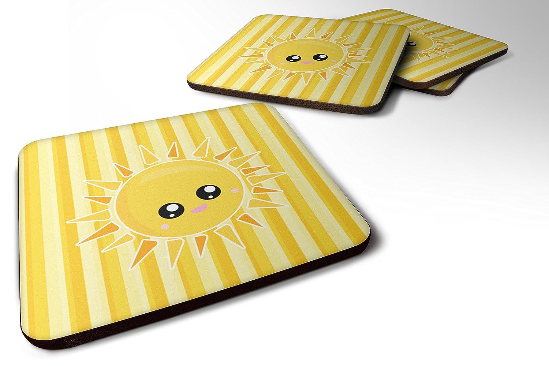 Caroline 's Treasures bb7071fcのセット4 Sunshine Sun Face on Stripes Foamコースターのセット4、3 1 / 2 x 3 1 / 2、マルチカラー   B06ZYCJ984