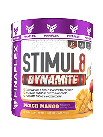 Stimul8 Dynamite, Ultimate Super Pre-Workout, Continuous and Explosive Clean Energy, Increase Blood Flow, Promote Focus and Motivation, 30 Servings Peach Mango