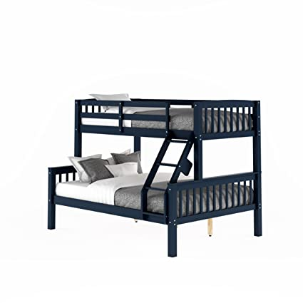 Amazon Com Corliving Twin Over Full Bunk Bed In Navy Blue Kitchen