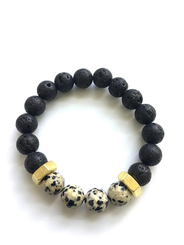 Dalmatian Jasper, Brass, and Black Lava Stone Mens Beaded Boho Gemstone Bracelet - Essential Oil Diffuser, Relaxation, Fidelity, Harmony,8mm, Healing Crystals, Emotional Balance