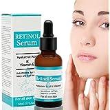 Sérum au rétinol - Anti-vieillissement et soin de visage - Avec acide hyaluronique et vitamine E pour l'élimination des ridules et des rides - Naturel et hydratant.