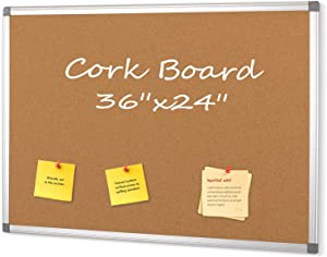 Cork Boards Bulletin Board 2x3,Large Notice Pin Board for Home Office Kitchen,Wall Mounted Corkboard with Aluminium Frame 36x24inch