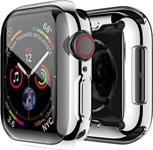 Smiling Case for Apple Watch Series 4 / Series 5 40mm with Built in TPU Clear Screen Protector - All Around Protective Case High Definition Clear Ultra-Thin Cover for iwatch 40mm Series 5/4 (Silver)