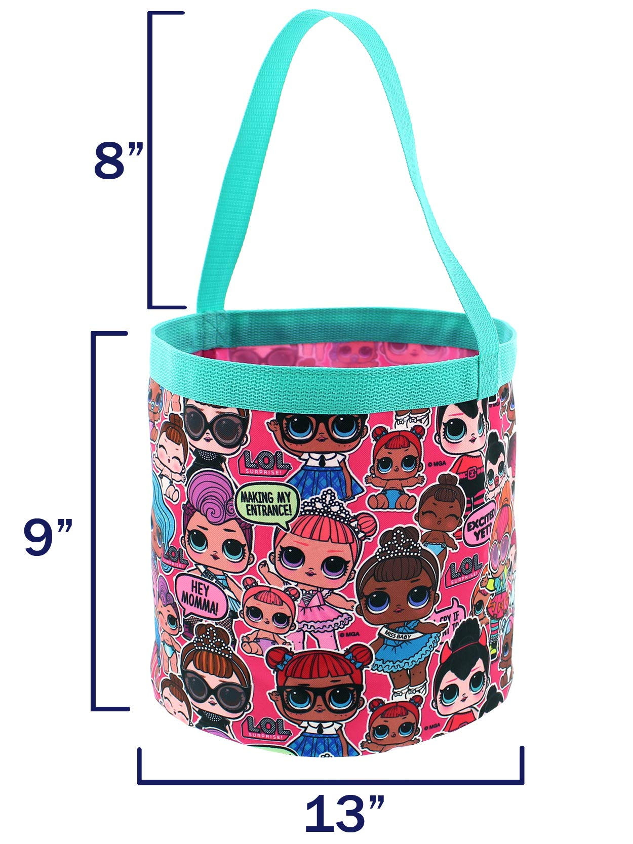L.O.L. Surprise! Girls Collapsible Nylon Beach Bucket Toy Storage Gift Tote Bag (One Size, Pink) by L.O.L. Surprise! (Image #3)