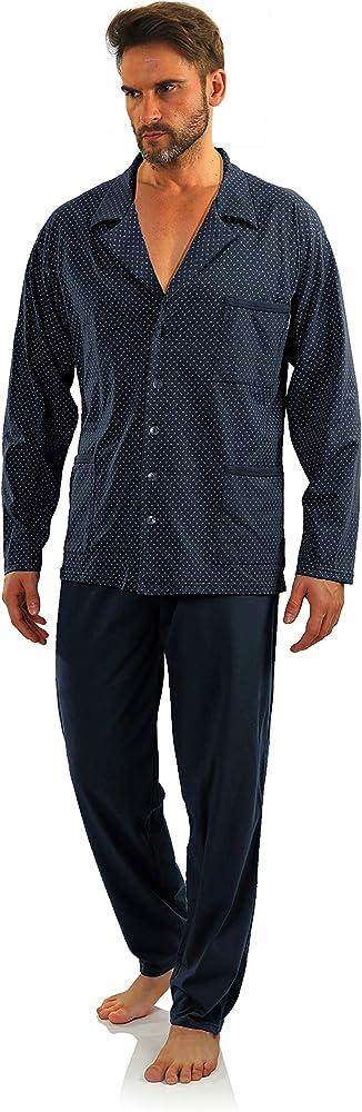 Sesto Senso® Pijama Hombre Botones 100% Algodon Abotonado Clasico ...