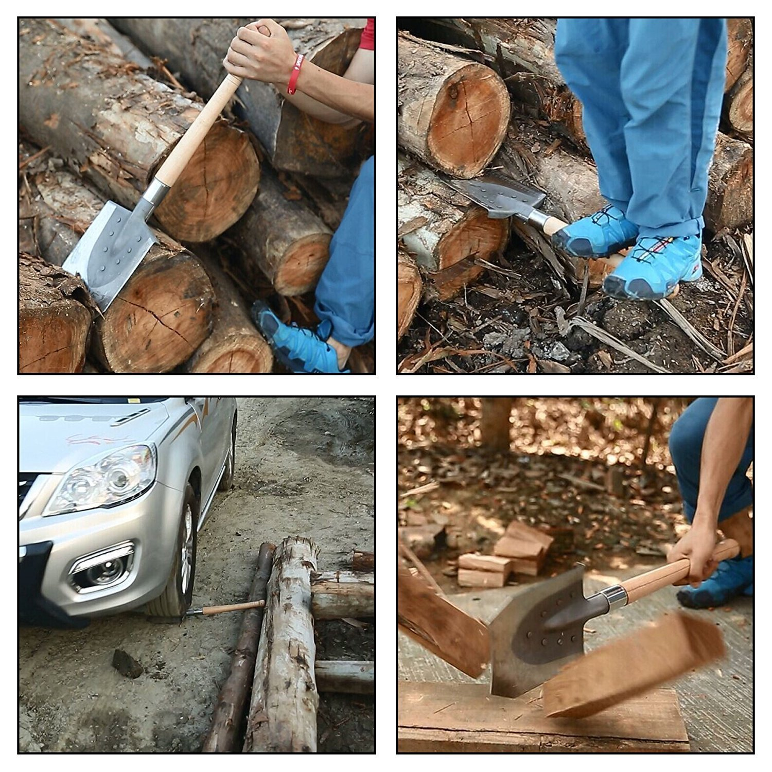 FiveJoy Portable Trench Shovel for Gardening, Camping, Metal Detect, Off-Road, Emergency (J2) - Hard Wood Handle, High Carbon Steel Blade - Excel in Digging, Chopping, Prying - Great to Keep in Trunk