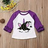 Toddler Kids Baby Girl Unicorn Pumpkin Ruffles Long Sleeve T-Shirt Tops Outfits