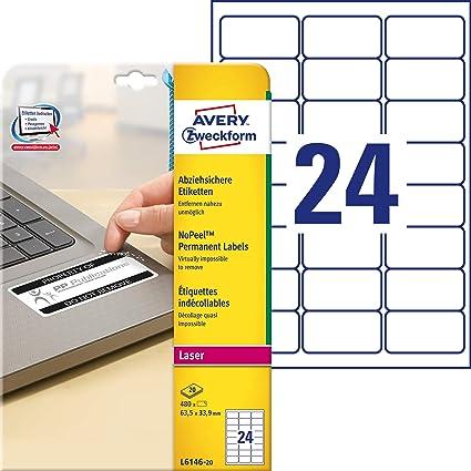 Avery España L6146-20 - Pack de 20 folios de etiquetas no ...