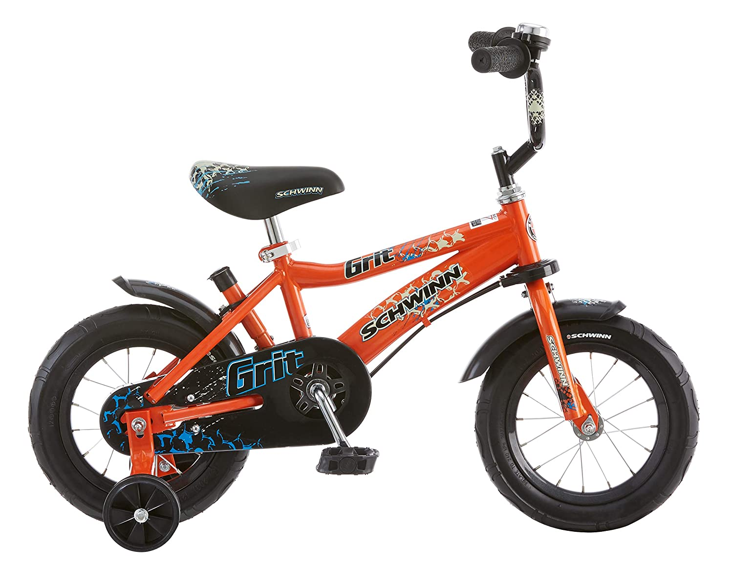 cda1eb09cc1 Amazon.com : Schwinn Grit Steerable Kids Bike, Featuring Push Handle for  Easy Steering, Training Wheels, Enclosed Chainguard, Quick-Adjust Seat, and  12-Inch ...
