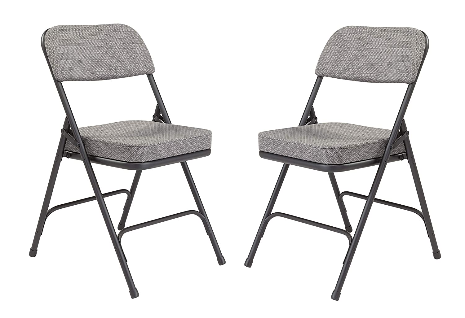 National Public Seating 3200 Series Steel Frame Upholstered Premium Fabric Seat and Back Folding Chair with Double Brace, 300-Pound Capacity, Regal Blue/Gray, Carton of 2 3215