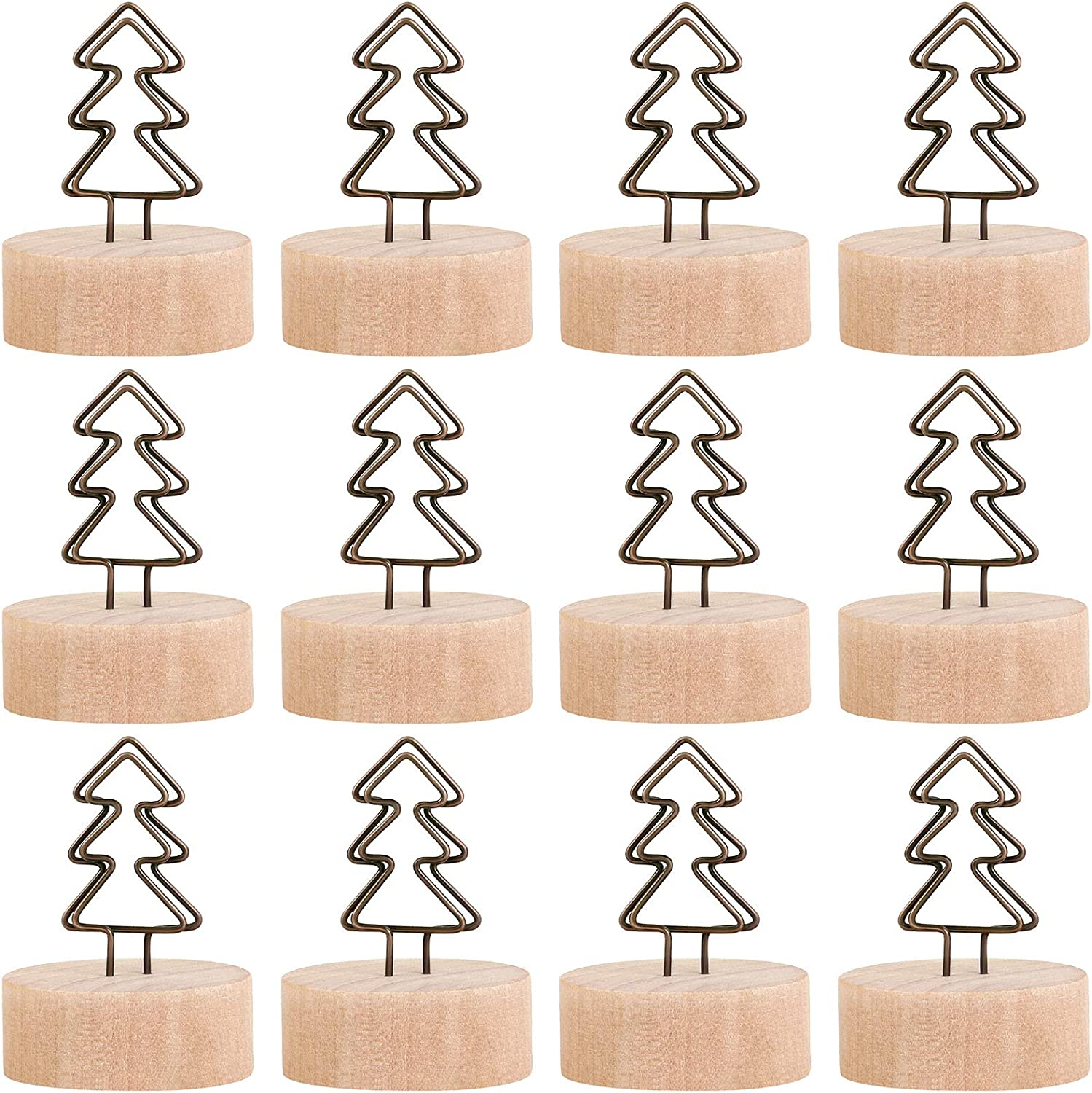 ADXCO 12 Pack Christmas Party Decoration Card Holders Wooden Base Card Holders Rustic Iron Wire Picture Picks Clip Holder Picture Memo Note Photo Clip for Wedding Office Christmas Table Decorations: Kitchen & Dining
