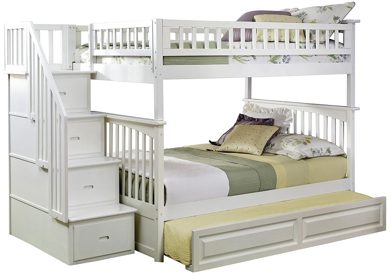 Amazon Com Columbia Staircase Bunk Bed With Trundle Bed Twin Over Full White Kitchen Dining