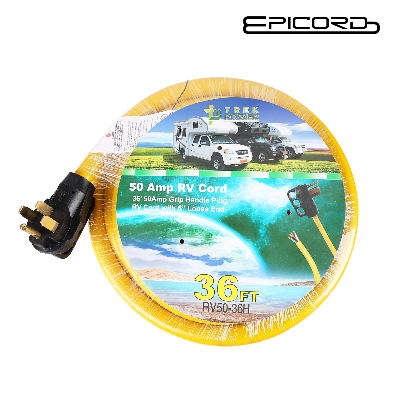 Epicord Rv Extension Cord 50 Amp Grip Handle Plug With Loose End Receptacle 36ft 125v 250v