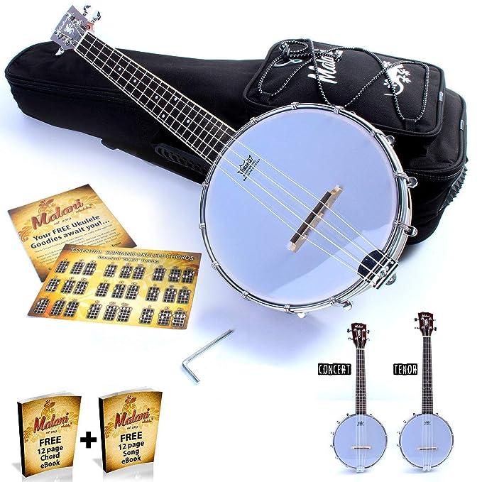 Banjolele/Banjo ukelele: madera de caoba parte trasera cerrada Banjo ukelele por Malani (incluye bolsa de transporte + opcional), Banjolele (with Gig Bag): ...