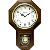 "Timekeeper Essex Westminster Chime Faux Wood Pendulum Wall Clock, 17.5"" x 11.25"", Walnut"