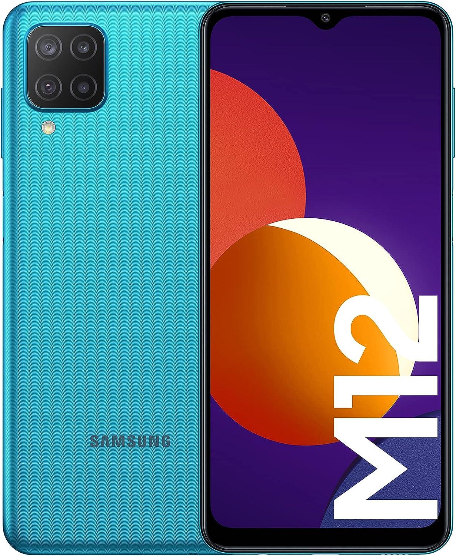 Samsung Smartphone Galaxy M12 con Pantalla Infinity-V TFT LCD de 6,5 Pulgadas, 4 GB de RAM y 64 GB de Memoria Interna Ampliable, Batería de 5000 mAh y Carga rápida Verde (ES Versión)