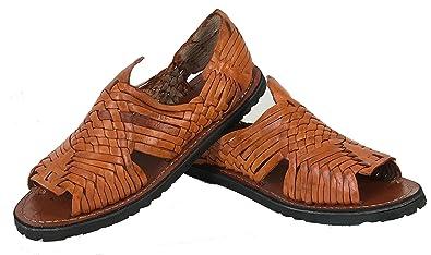 f60045d7c89b Handmade Men s New Leather Soft Woven Sandals Flip Flop Slip Huaraches  Cognac (6 ...