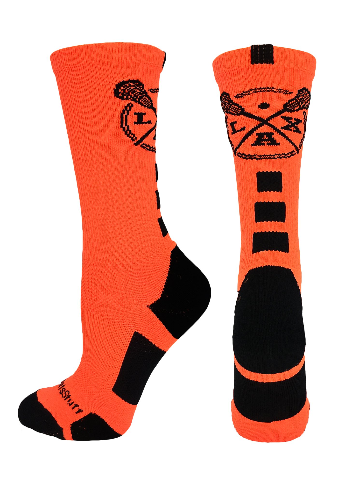 MadSportsStuff LAX Lacrosse Socks with Lacrosse Sticks Athletic Crew Socks (Neon Orange/Black, Small) by MadSportsStuff