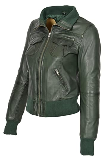 A1 Fashion Goods Womens Green Leather Bomber Jacket Trendy Slim Fit