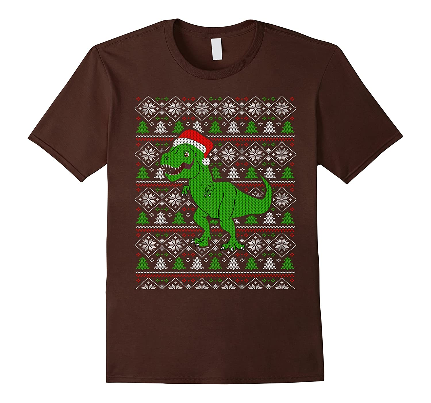 Funny T-Rex Dinosaur Ugly Christmas Sweater Style T-Shirt-ANZ
