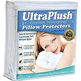 UltraPlush Premium Waterproof Pillow Protector - Hypoallergenic & Bed Bug Proof Zippered Pillow Case - 2 Pack - Super Soft & Quiet (King Pillow Set (2))