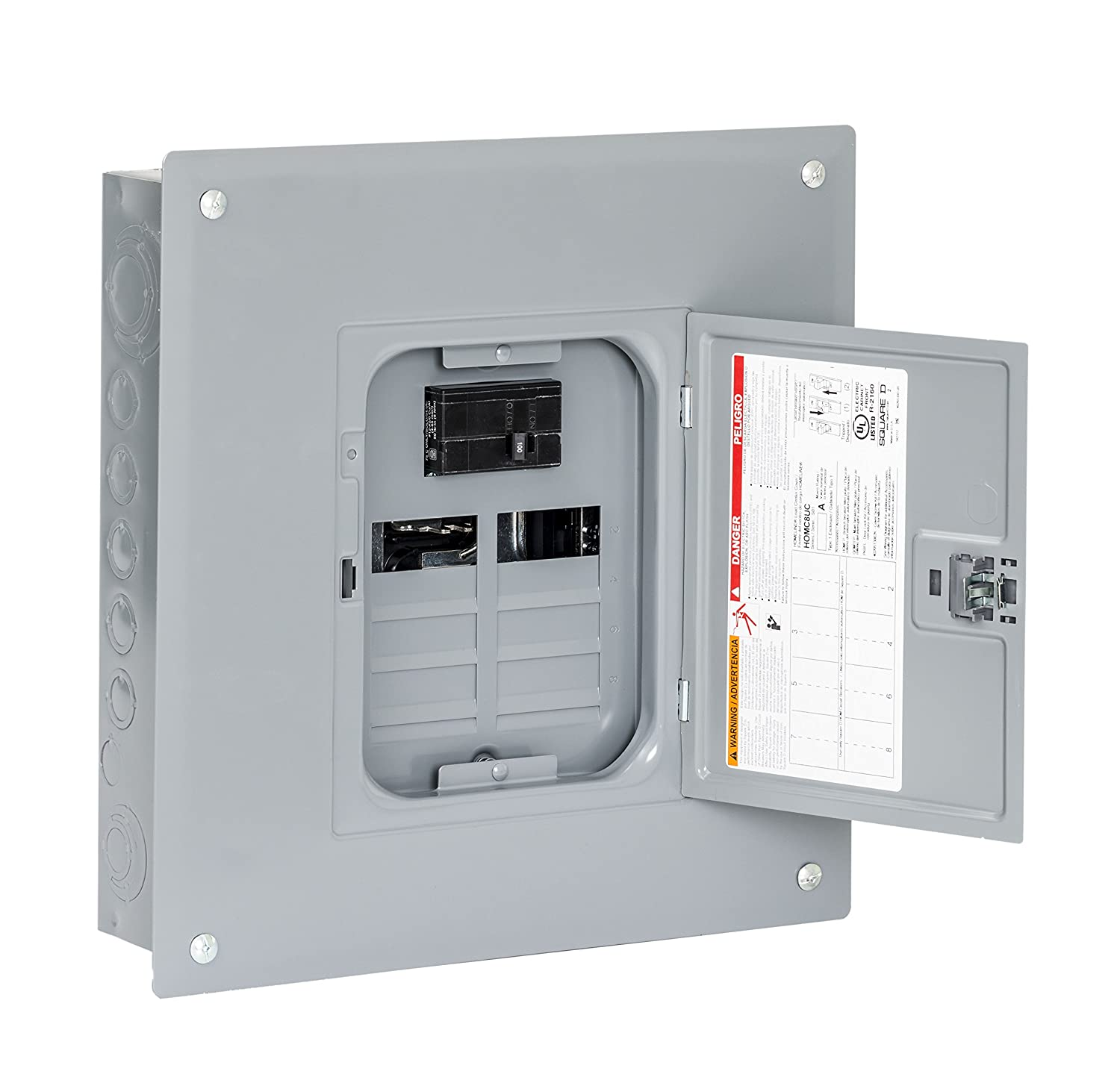 Square D By Schneider Electric Hom816m100pc Homeline 100 Amp 8 Space Circuit Breaker Panel Box In Addition Residential 16 Indoor Main Load Center With Cover Plug On Neutral Ready