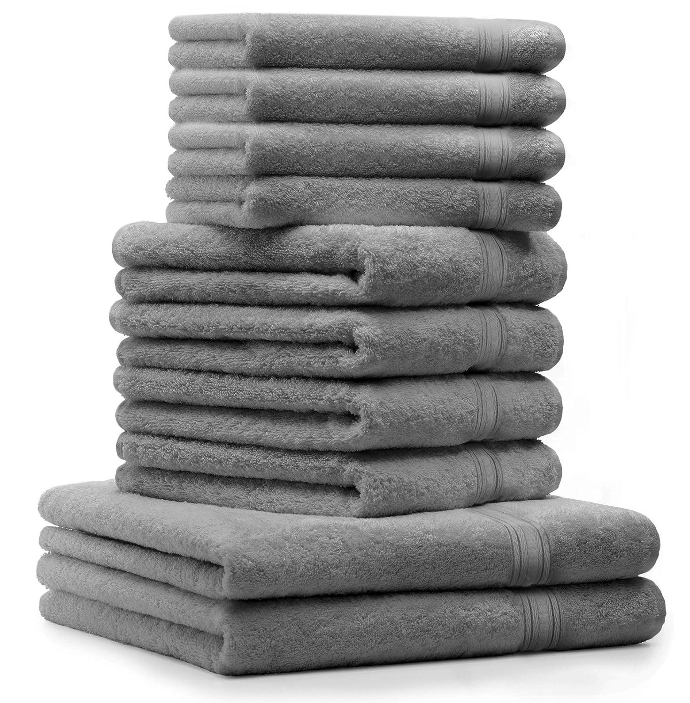 draps de Bain 4 Serviettes de Toilette 4 lavettes qualit/é 600 g//m/² 100/% Coton Gold Couleur Blanc Betz Lot de 10 Serviettes Set de 2 Serviettes Gris Anthracite