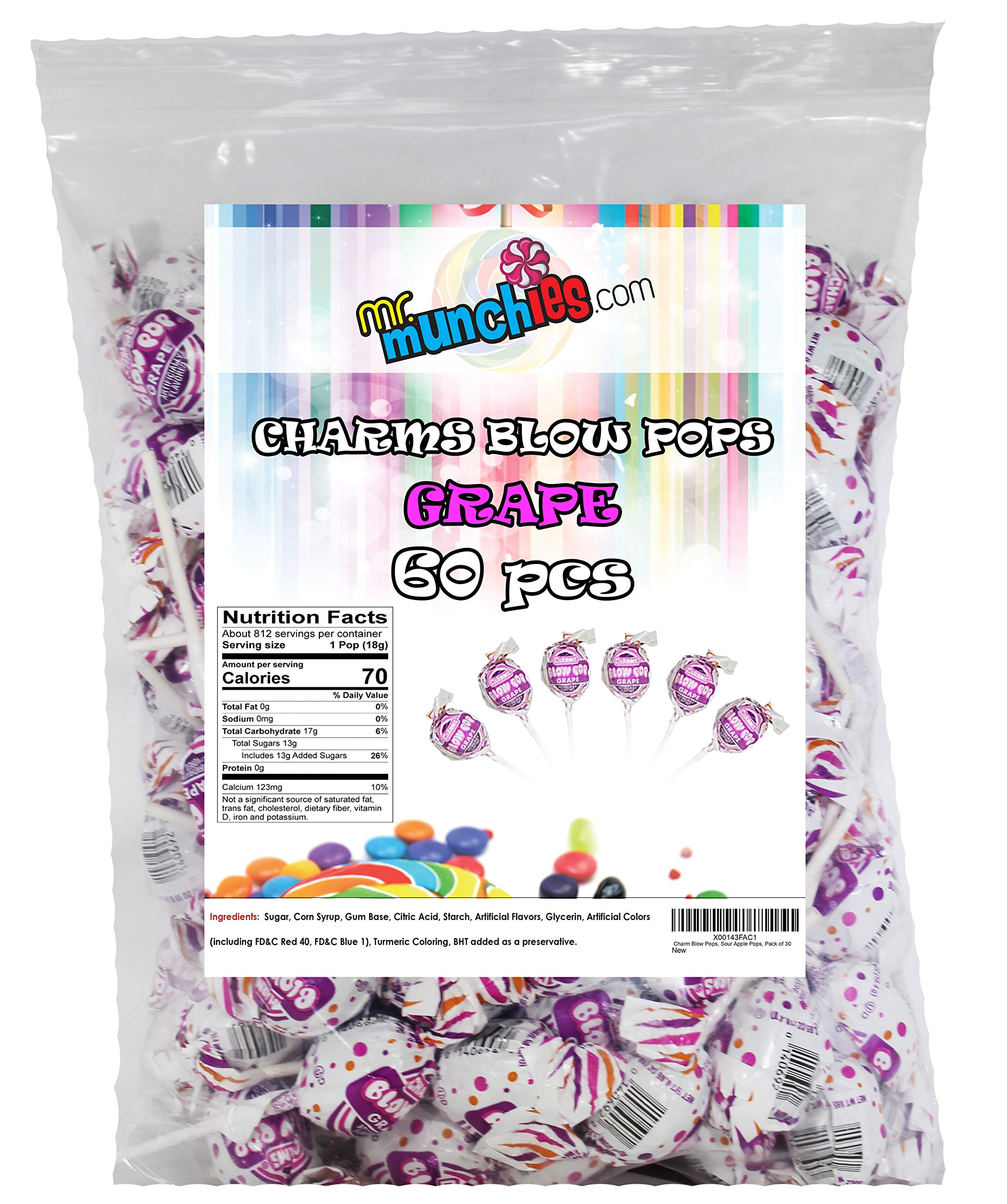 Charm Blow Pops, Grape Pops, Pack of 60 by Blow Pops