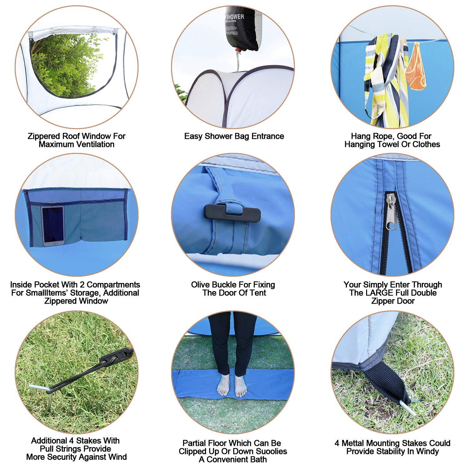 Leader Accessories Pop Up Shower Tent Dressing Changing Tent Pod Toilet Tent 4 x 4 x 78 Big Size H
