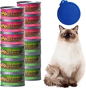 Lick Your Chops Feline 6-3 oz Chicken/Catfish and 6-3 oz Salmon/Whitefish CansWITH Free LID Healthy Wet Cat Food in Irresistible Gravy