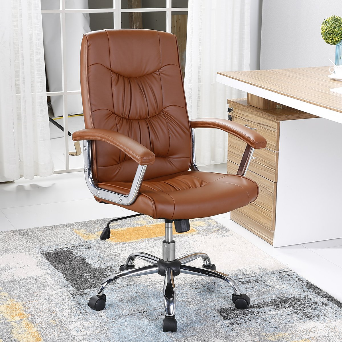 SeatingPlus High Back Desk Office Chair Ergonomic Swivel Home Computer Chair with Armrest, Back Support for Working, Brown
