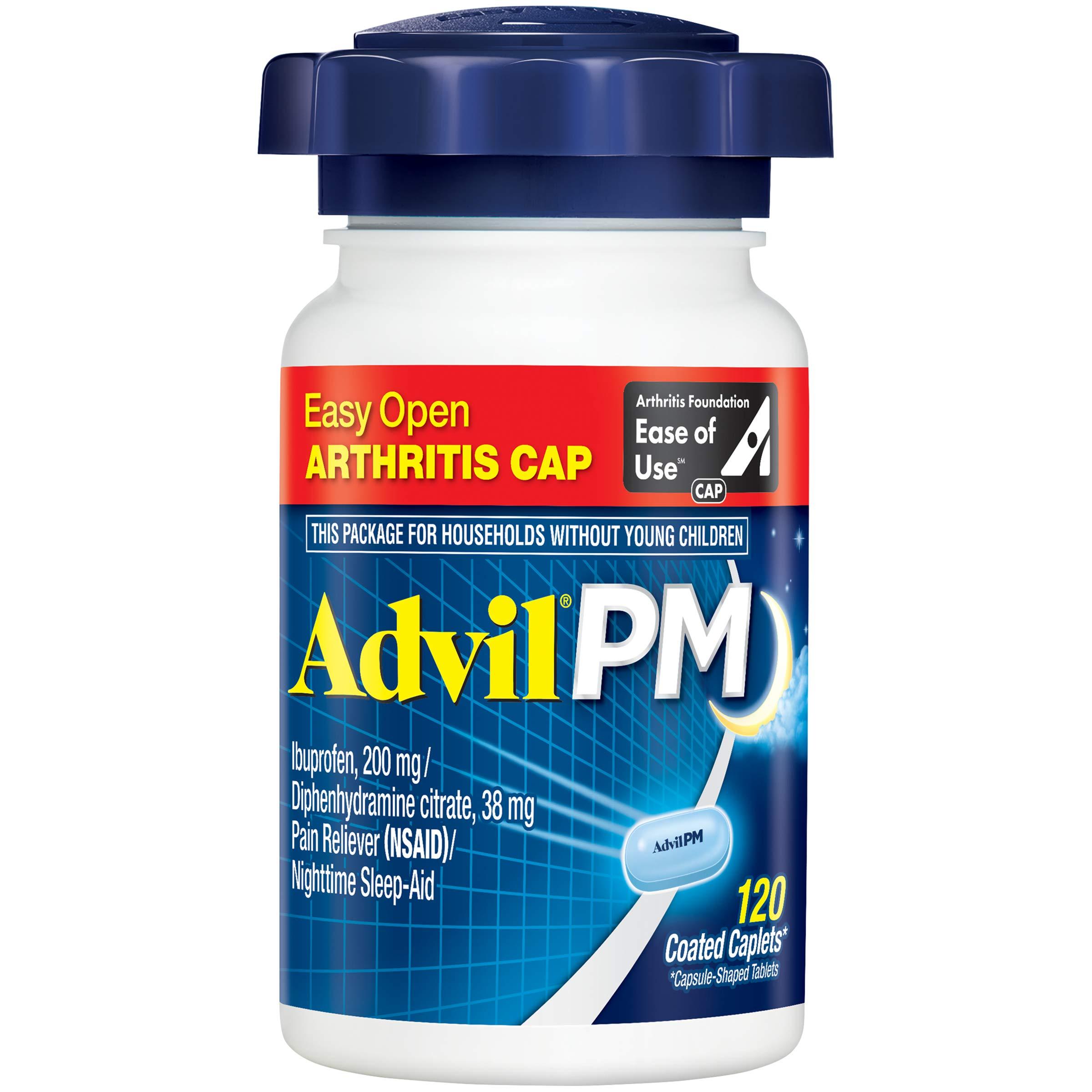 Advil PM (120 Count) Easy Open Arthritis Cap Pain Reliever/Nighttime Sleep Aid Caplet, 200mg Ibuprofen, 38mg Diphenhydramine by Advil