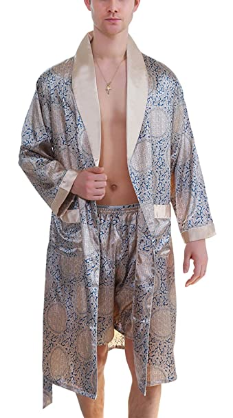 purchase newest look out for new style & luxury Men's Printed Bathrobes Luxurious Kimono Soft Satin Robe with Shorts  Nightgown