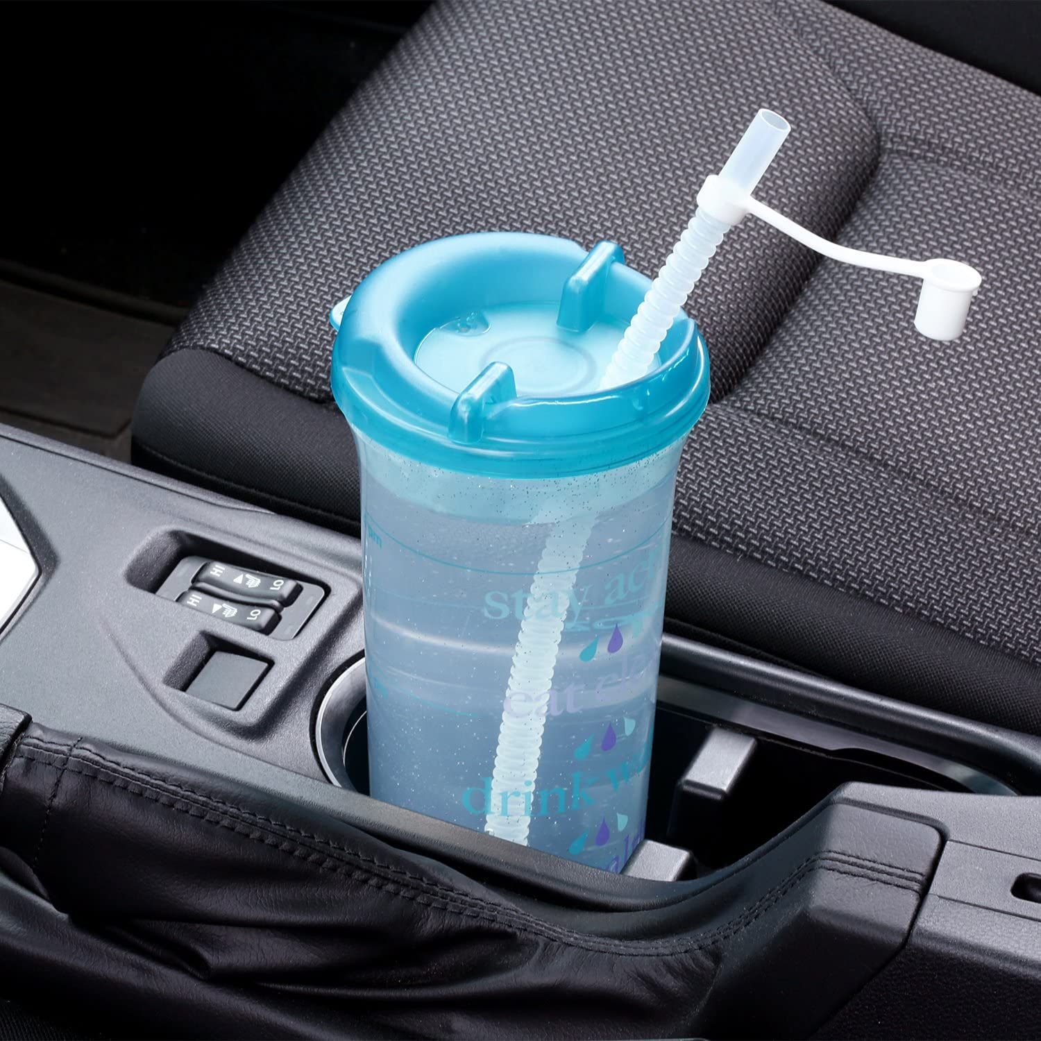 Car Friendly Time Marked Water Bottle with Swivel Lid and Straw Blue 32oz