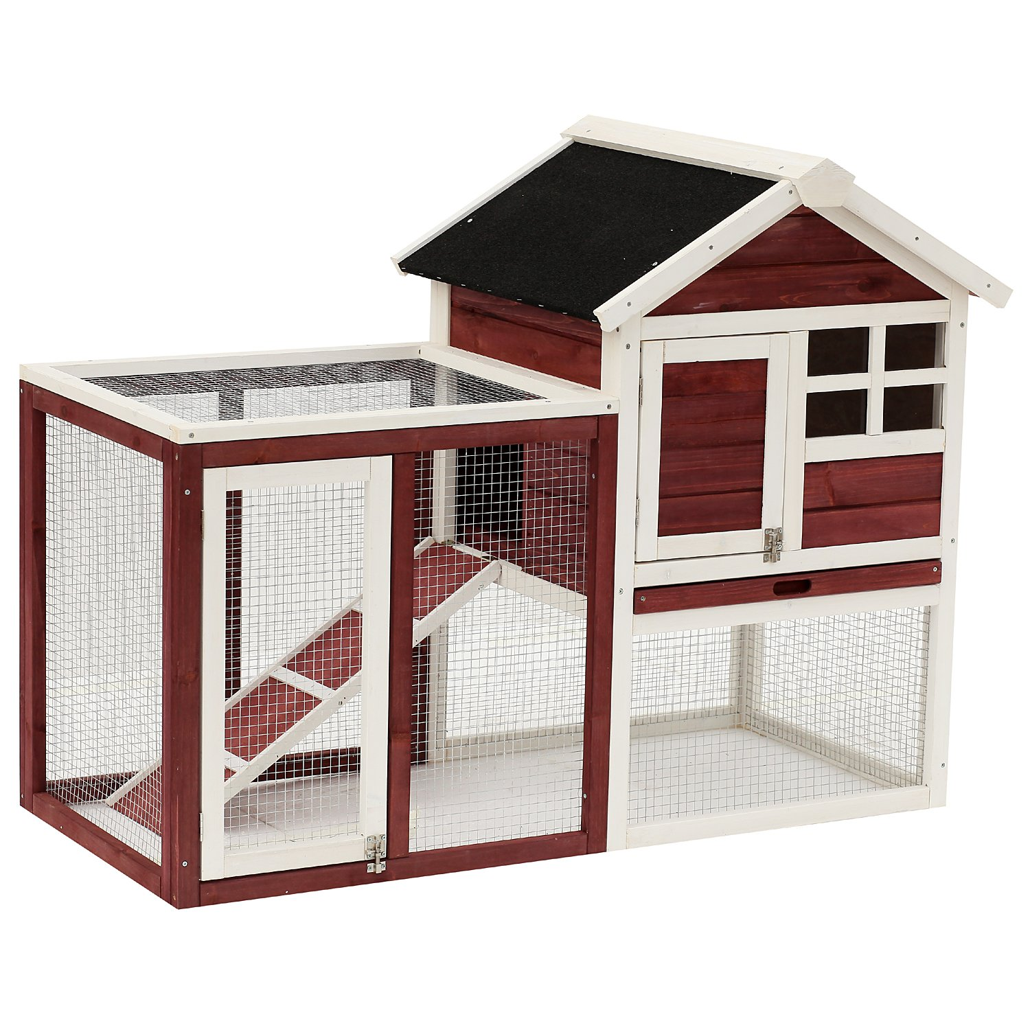 PawHut 48'' Weatherproof Wooden Rabbit Hutch with Slant Roof and Screened Outdoor Run by PawHut