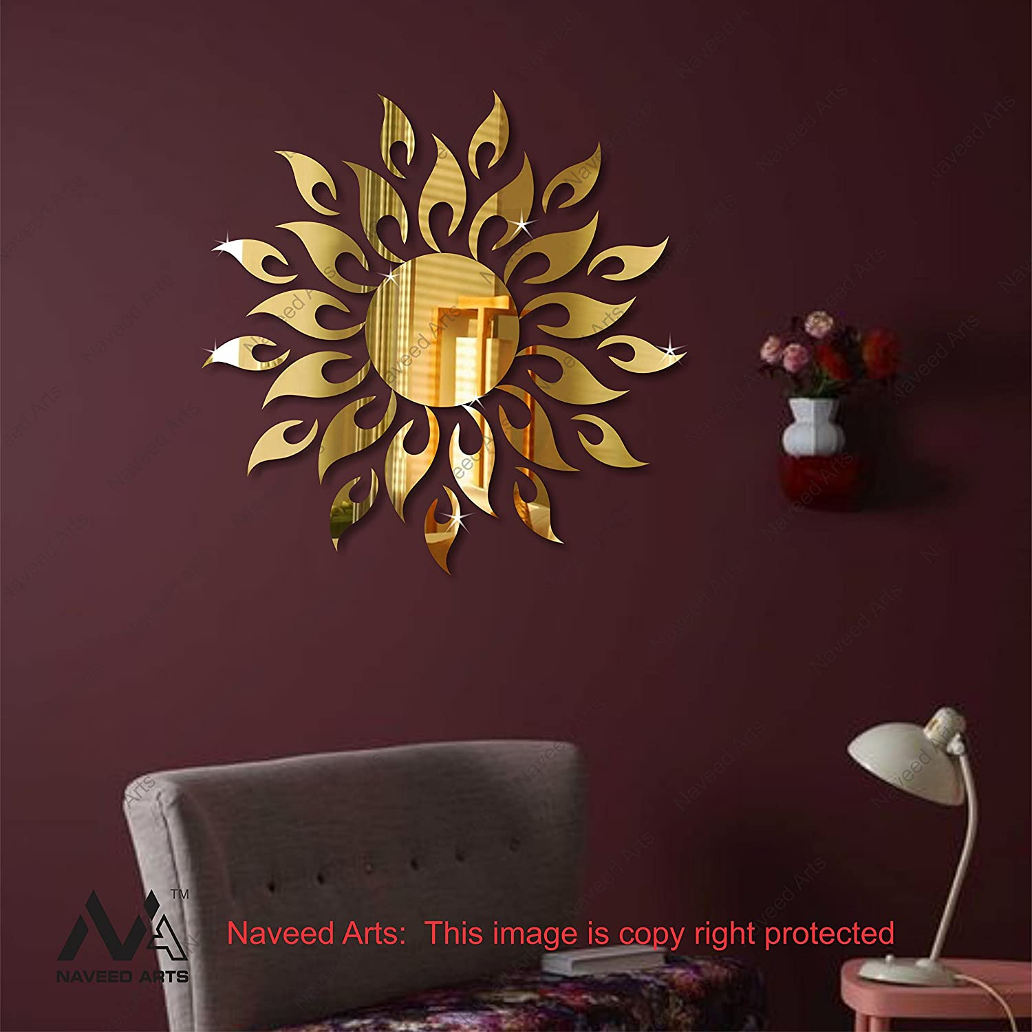 Buy Naveed Arts JB099G 3D Acrylic Sun Mirror Decor Wall Sticker 2Ft