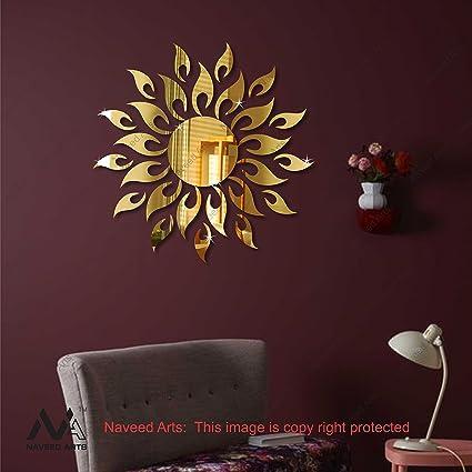 Buy Naveed Arts Jb099g 3d Acrylic Sun Mirror Decor Wall Sticker 2ft