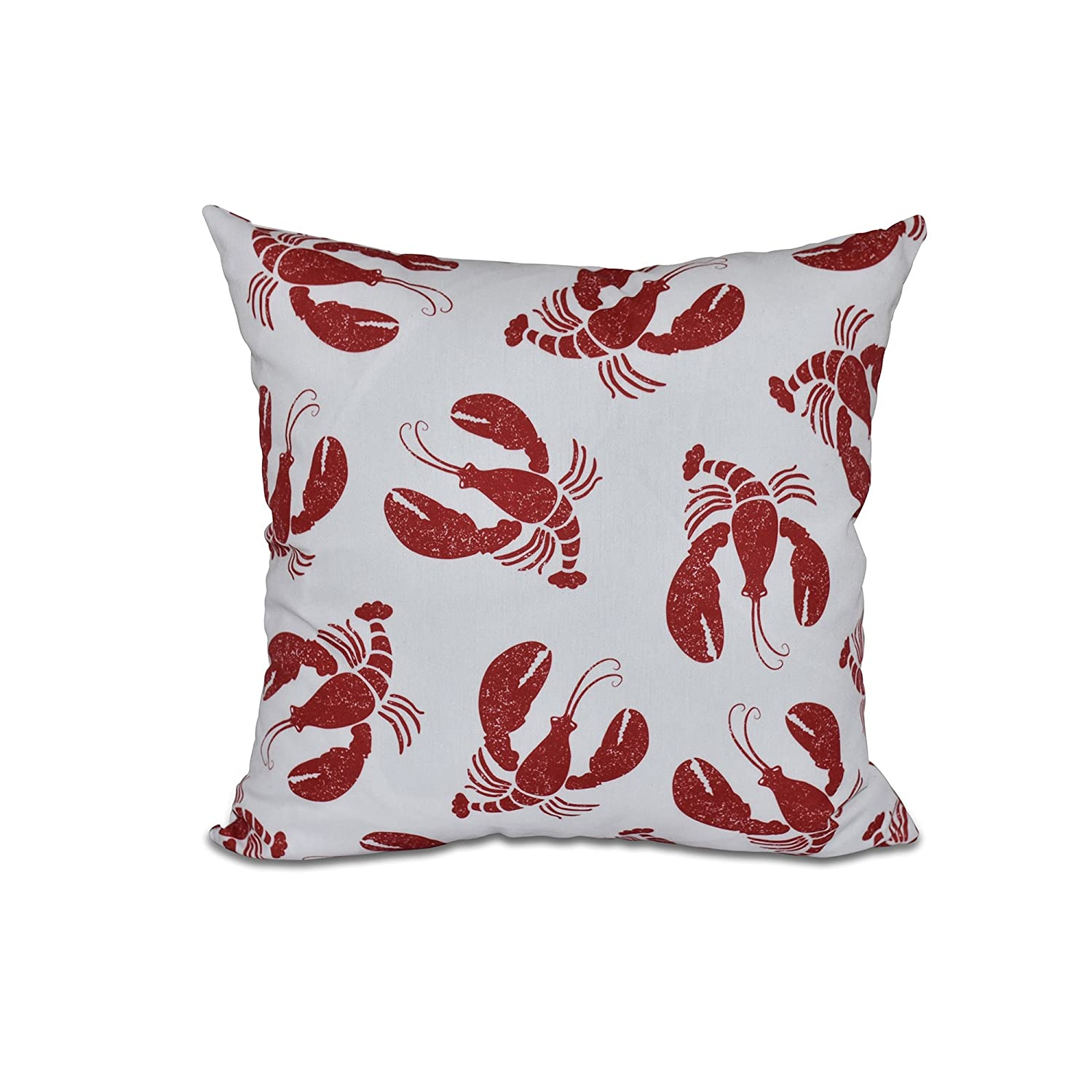E by design PAN405WH1RE1-26 26 x 26 Lobster Fest, Animal Print Pillow Red