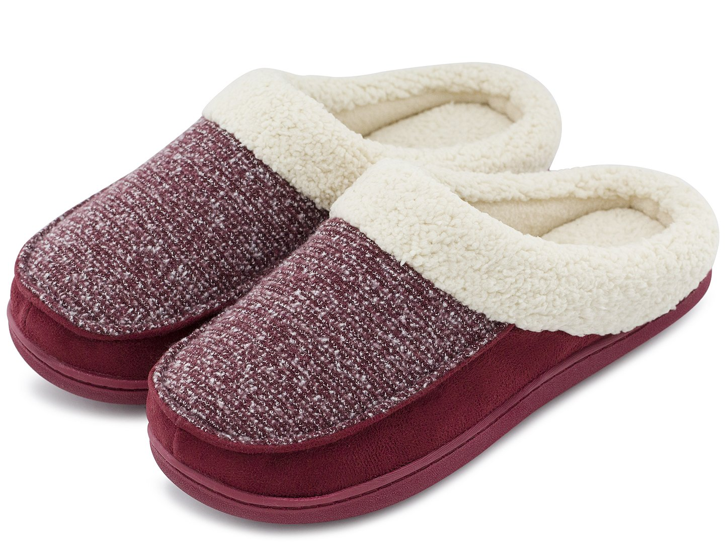 Women's Comfort Memory Foam Slippers Fuzzy Wool Plush Slip-On Clog House Shoes w/Indoor & Outdoor Sole (Large / 9-10 B(M) US, Burgundy)