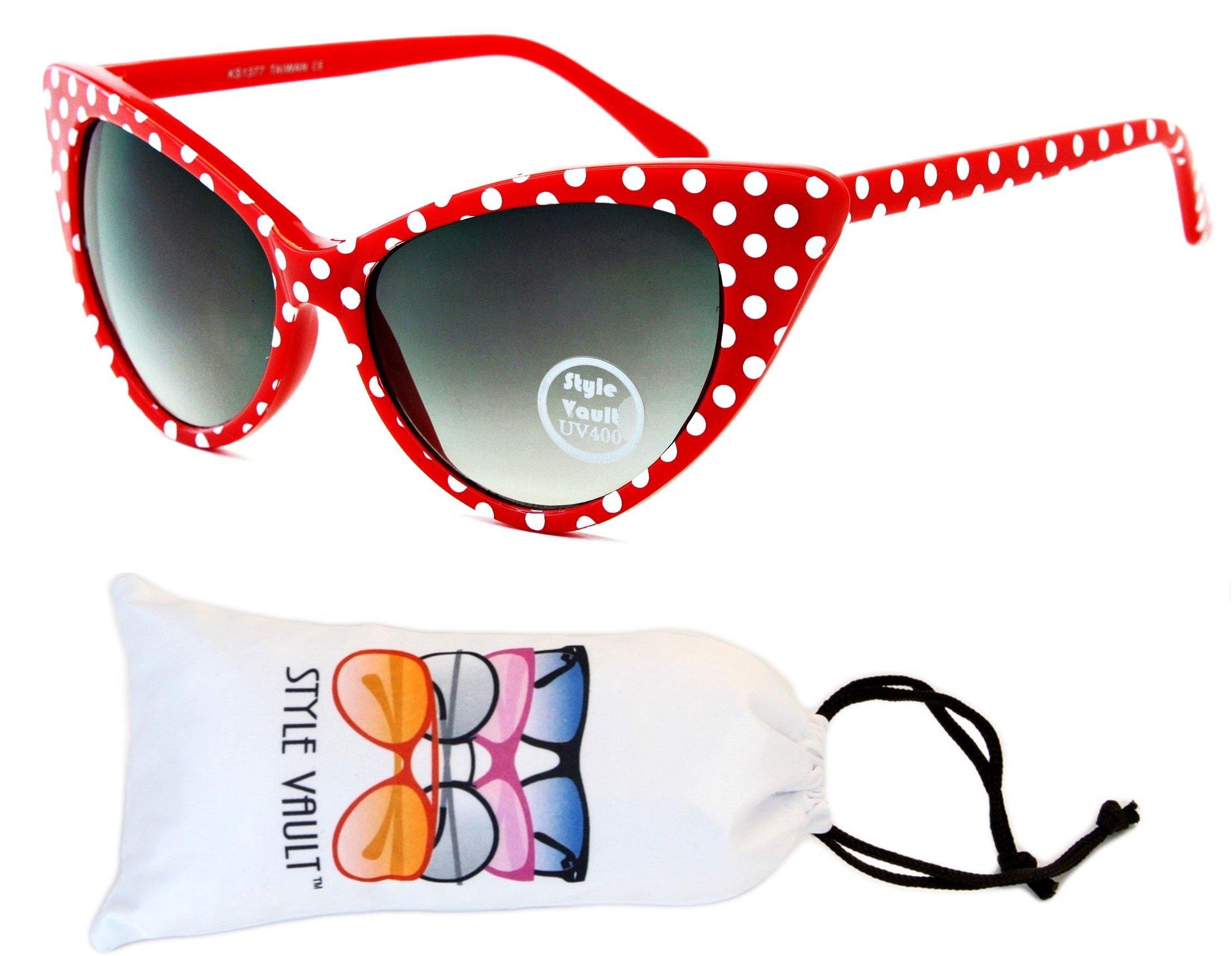 Wm528-vp Style Vault Unique Cateye polka dots Sunglasses (S3236V Red/White Dots, uv400)